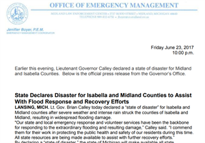 Lt Governor declares a state of disaster in Midland County